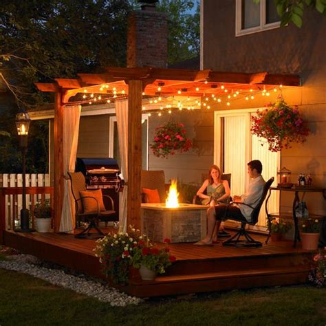Outdoor Patio Ideas With Wooden Cover And Modern Lighting Patio Cover Lighting Ideas