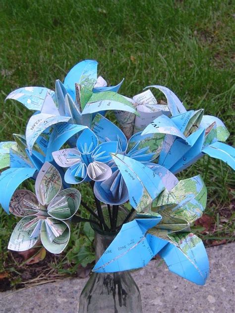origami flower bouquet for sale vintage map paper flower bouquet origami kusudama and