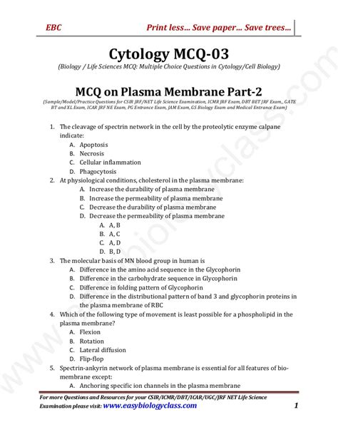 cytology practice questions mcq  plasma membrane cell
