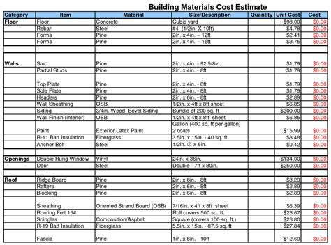 building material list template building materials cost estimate sheet building