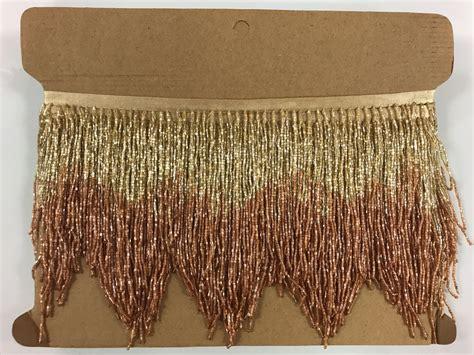 beaded fringe trim for costumes 5 yard bolt 6 quot gold copper ombre bugle beaded fringe