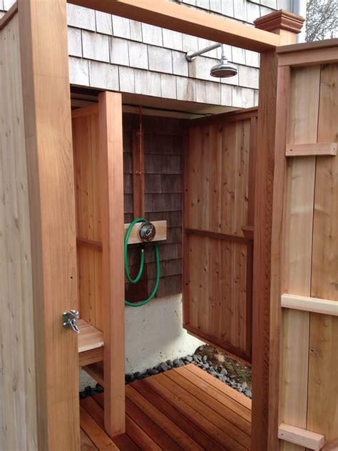 outdoor shower bench cedar outdoor shower enclosure with bench yelp