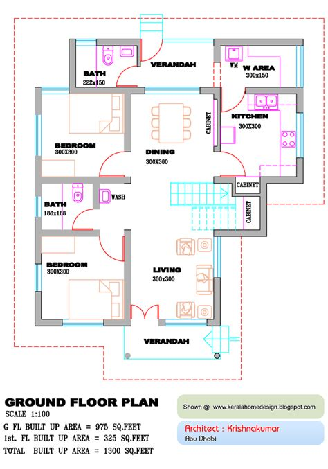 kerala home design floor plan kerala home plan and elevation 1300 sq feet kerala
