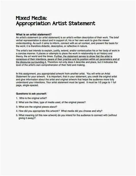 artist biography vs statement mixed media artist statement teacher resources