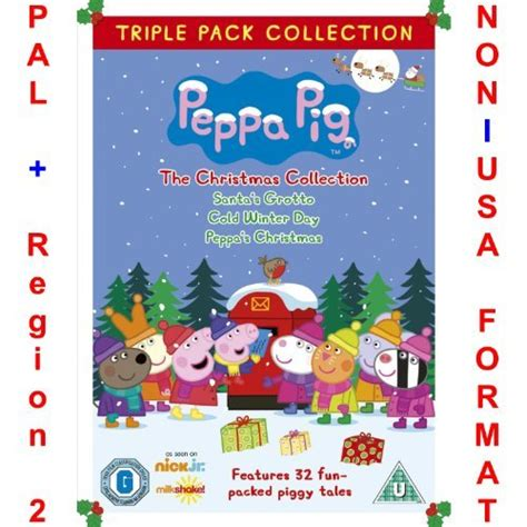 dvd format pal region 2 dvd peppa pig triple pack christmas collection non u s a