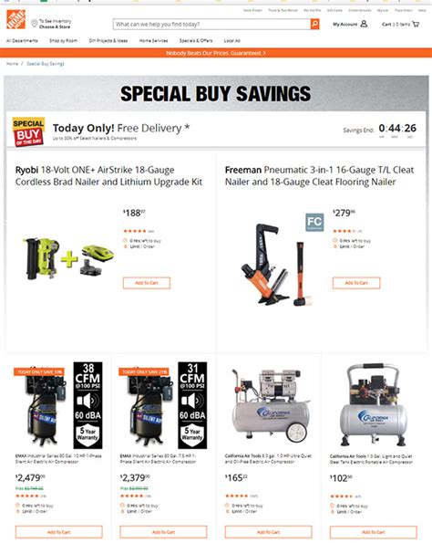 when do home depot special deals of the day expire