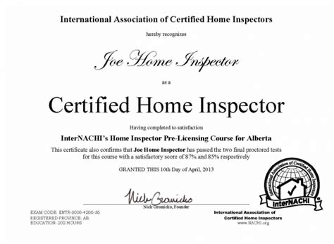home inspector licensing proctoring continuing education
