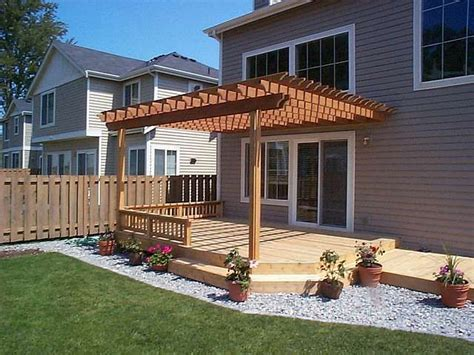 pergola attached  house  part  deck  yard