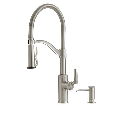 pre rinse kitchen faucet reviews shop giagni pompa stainless steel 1 handle deck mount pre rinse kitchen faucet at lowes