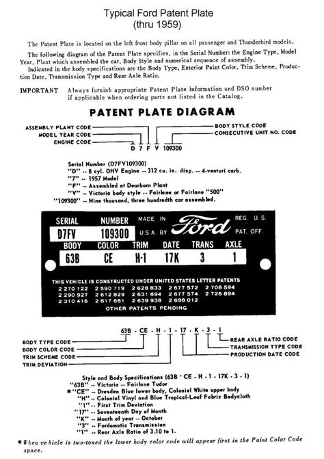 location of vin plate on 1956 ford f100 truck autos post