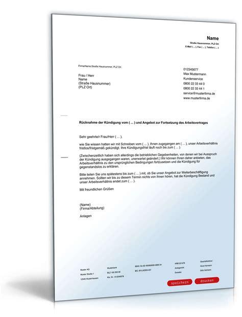 Musterbrief Angebot Machen R 252 Cknahme K 252 Ndigung Arbeitsvertrag Muster Zum