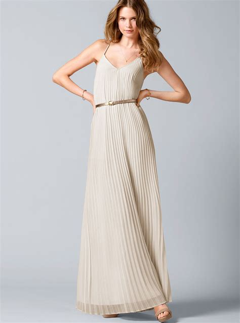 secret maxi s secret knifepleat maxi dress in beige milk lyst