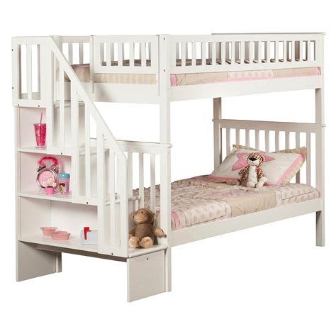 White Staircase Bunk Bed Woodland Staircase Bunk Bed White Ab56602