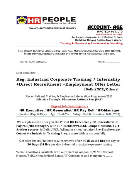 Offer Letter Format For Marketing Executive Offer Letter Hr