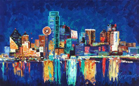 Night Sky Wall Mural dallas texas skyline 01 painting by paul kyegombe