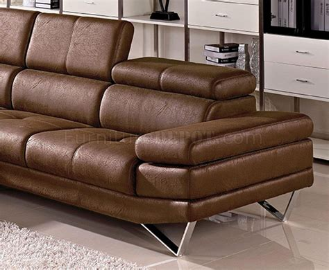 Brown Fabric Sectional Sofa 1218 Sectional Sofa In Brown Fabric By Vig