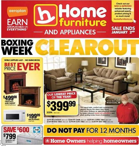home furniture boxing day flyer