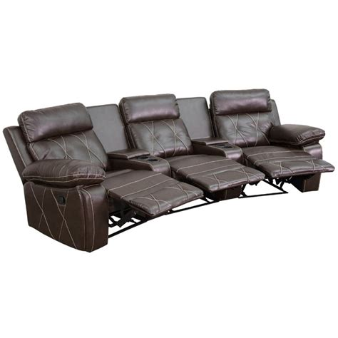 Reclining Theater Chairs by 3 Seat Leather Reclining Home Theater Seating In Brown