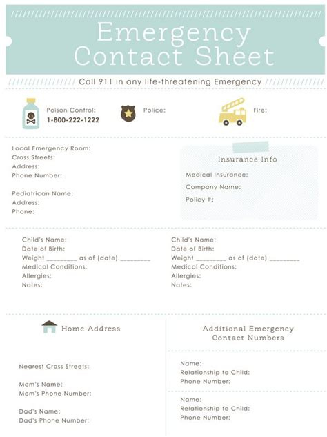 important contacts printable pdf editable organizing