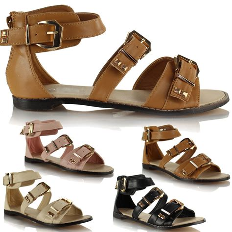 Sandal Flat Wadges Sendal Jepit Sendal Casual Ltv 727 womens flat leather style gladiator casual strappy summer sandals shoes ebay