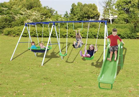 swing and slide set kmart sportspower outdoor play set with saucer swing