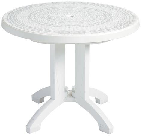 White Resin Patio Tables White 38 Quot Synthetic Wicker Grosfillex Resin Outdoor Dining Table With Umbrella
