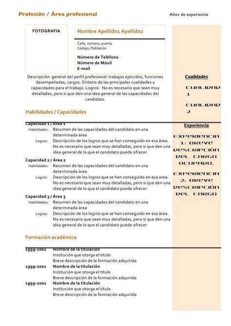 Plantilla De Curriculum Vitae Tematico Curriculum Vitae Modelo Combinado