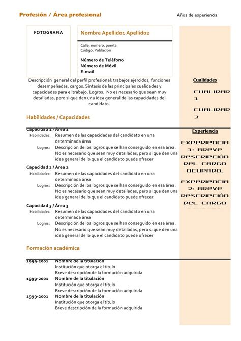 Modelo Curriculum Vitae Combinado Curriculum Vitae Modelo Combinado