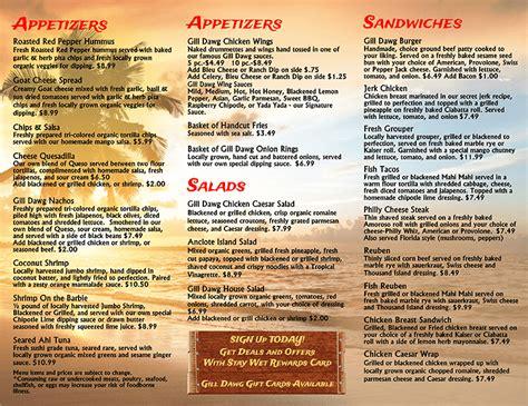 Tiki Bar Menu Menu 2 Direnzo S Tiki Bar Grill Gill Dawg Port Richey