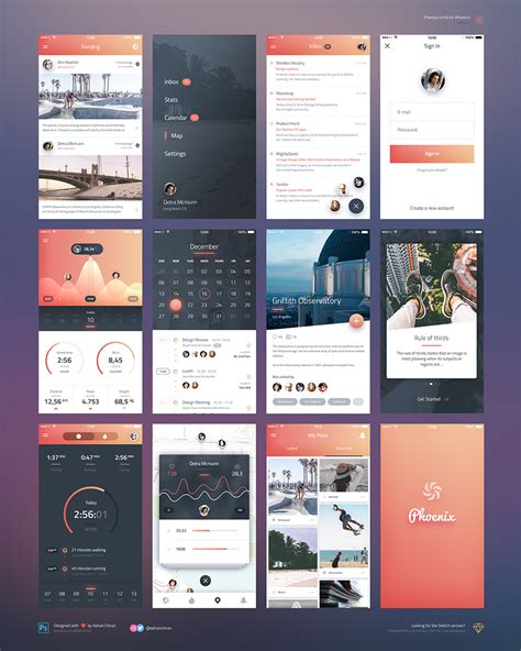 design application psd iphone 6 ios application ui kit free psd download