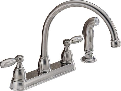 peerless kitchen faucets peerless p299575lf ss kitchen faucet 8 1 8 in x 6 5 8 in