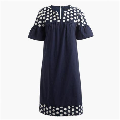 Dress Liris Navy Putih Fashion Import Impor bell sleeve dress with fringe dot dresses j crew