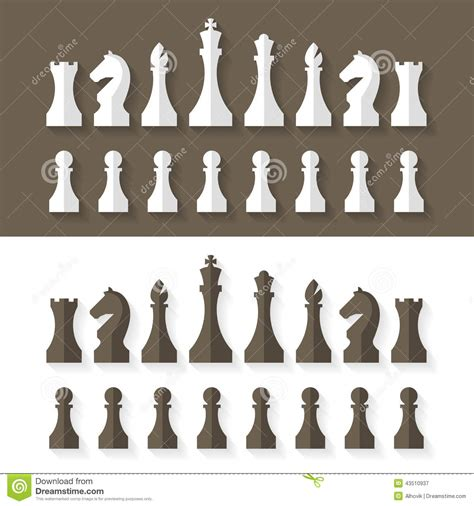 Chess Styles by Chess Pieces Flat Design Style Stock Vector Image 43510937