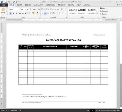 corrective action log