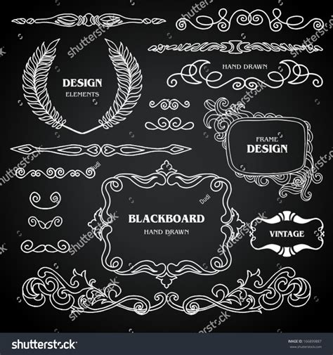 design elements style vintage style chalkboard design elements set stock vector