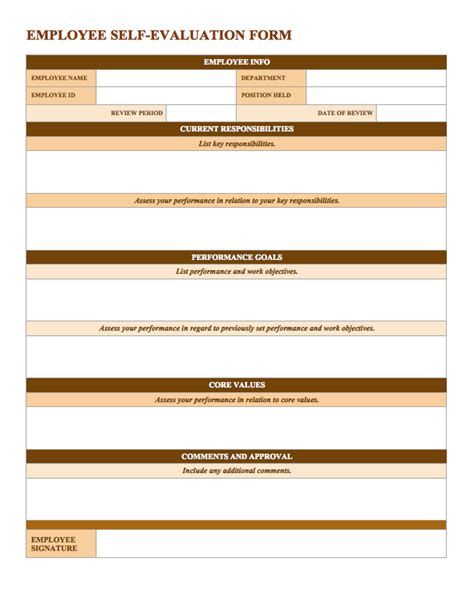 employee self evaluation form template free employee performance review templates smartsheet