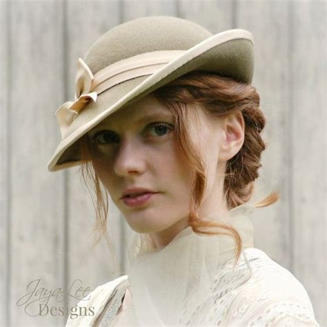 hair style tilt women tilt hat 1930 s vintage style in sage and cream felt