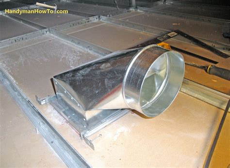how to install an air duct in a suspended drywall ceiling