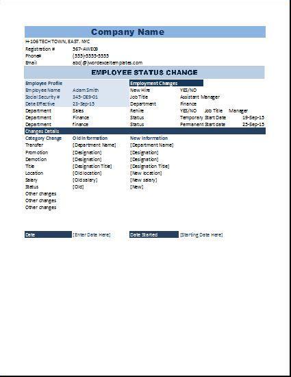 notice form exle employee status change form microsoft templates