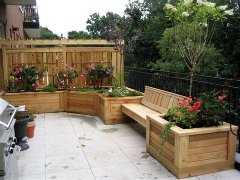 Planters On Deck by Condo Deck Planter And Bench With Privacy Screen And