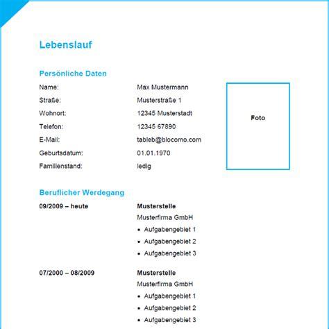 Lebenslauf Muster Und Vorlagen Vorlage 36 Tabellarischer Lebenslauf