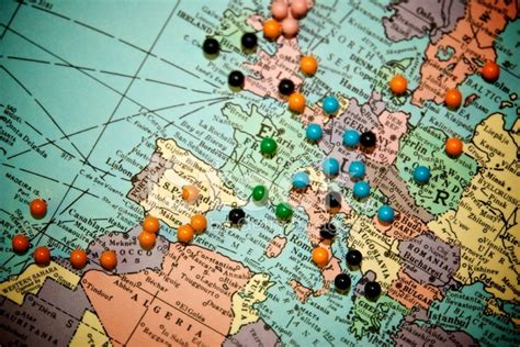 map of travels with pins travel map with push pins europe stock photos freeimages