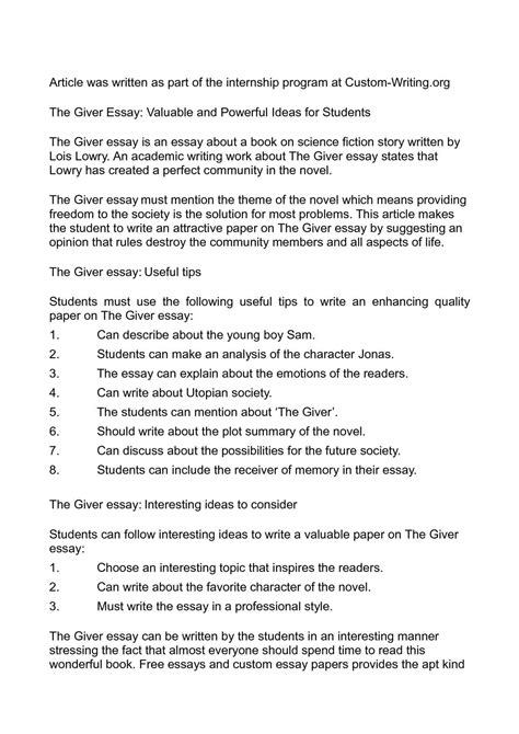 theme essay for the giver calam 233 o the giver essay valuable and powerful ideas for