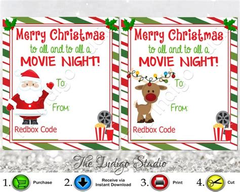 redbox gift card template redbox codes gift tags cards digital printable 4 different