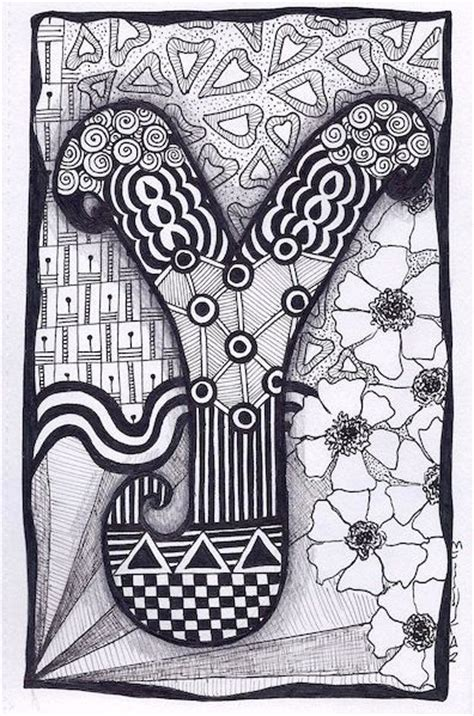 zentangle lettering google search zentangles doodles zentangle letter y google zoeken zentangle and doodle