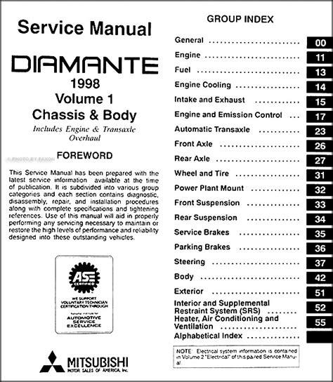 1998 mitsubishi diamante repair shop manual set original