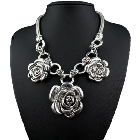 fashion bohemian big flower chain chokers chunky big