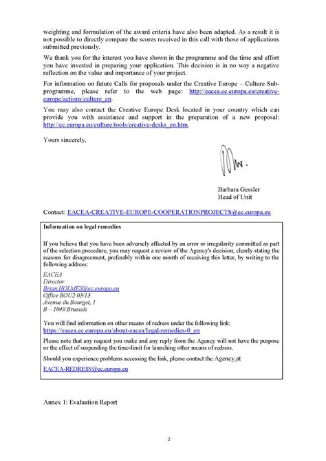 Evaluation Outcome Letter Refusal Letter Www Endegra Org