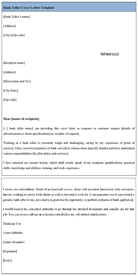 bank teller cover letter template sle templates