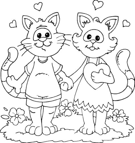 two cats coloring pages two cats in love coloring page coloring com